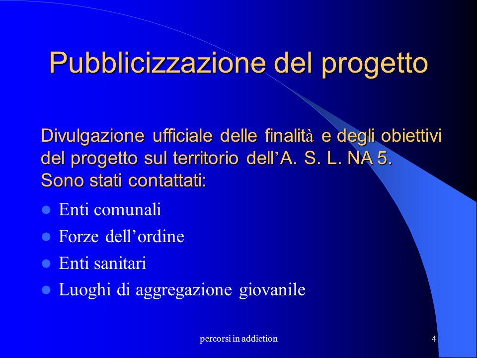 percorsi in addiction4 Pubblicizzazione del progetto Enti comunali Forze dell'ordine Enti sanitari Luoghi di aggregazione giovanile Divulgazione uffic