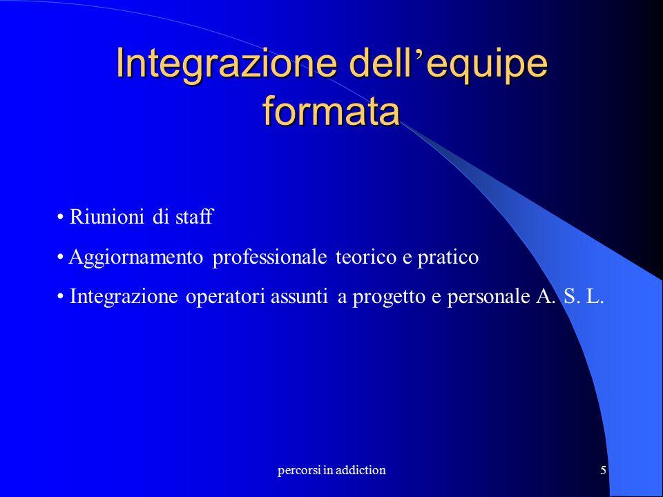 percorsi in addiction5 Integrazione dell ' equipe formata Riunioni di staff Aggiornamento professionale teorico e pratico Integrazione operatori assun