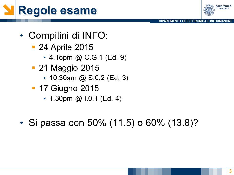 DIPARTIMENTO DI ELETTRONICA E INFORMAZIONE Regole esame Compitini di INFO:  24 Aprile 2015 4.15pm @ C.G.1 (Ed.