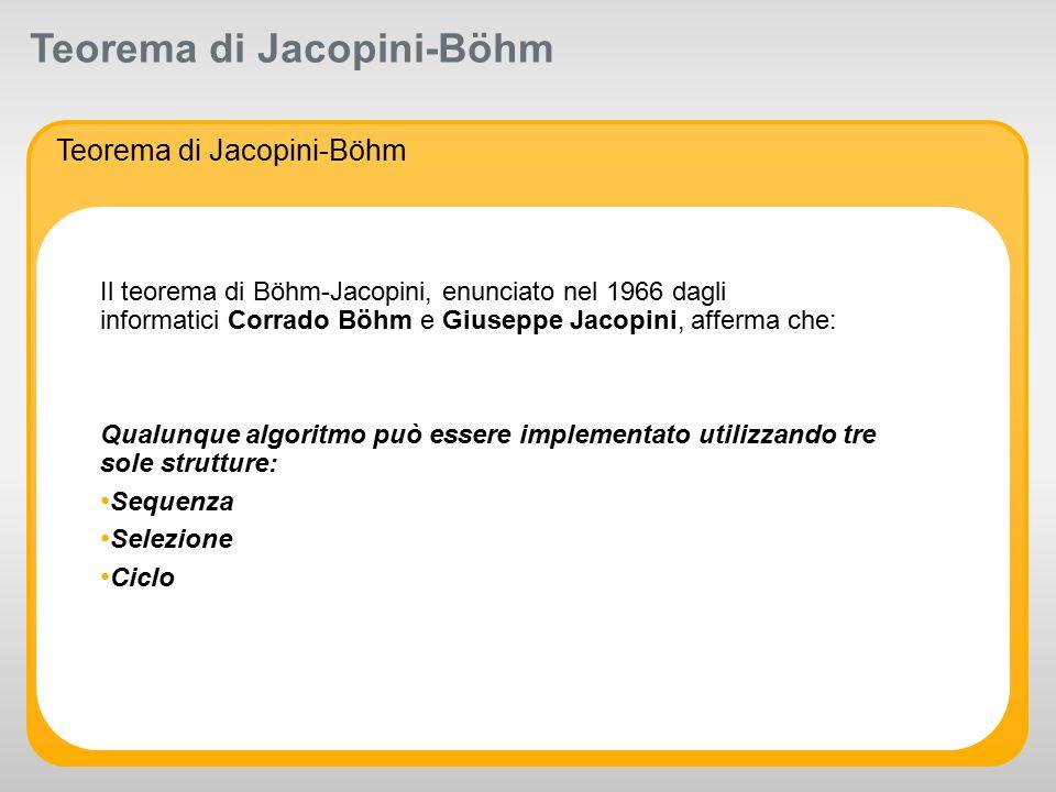 R 255 G 211 B 8 R 255 G 175 B 0 R 127 G 16 B 162 R 163 G 166 B 173 R 104 G 113 B 122 R 234 G 234 B 234 R 175 G 0 B 51 R 0 G 0 B 0 R 255 G 255 B 255 Supporting colors: R 52 G 195 B 51 Primary colors: Teorema di Jacopini-Böhm Il teorema di Böhm-Jacopini, enunciato nel 1966 dagli informatici Corrado Böhm e Giuseppe Jacopini, afferma che: Qualunque algoritmo può essere implementato utilizzando tre sole strutture: Sequenza Selezione Ciclo