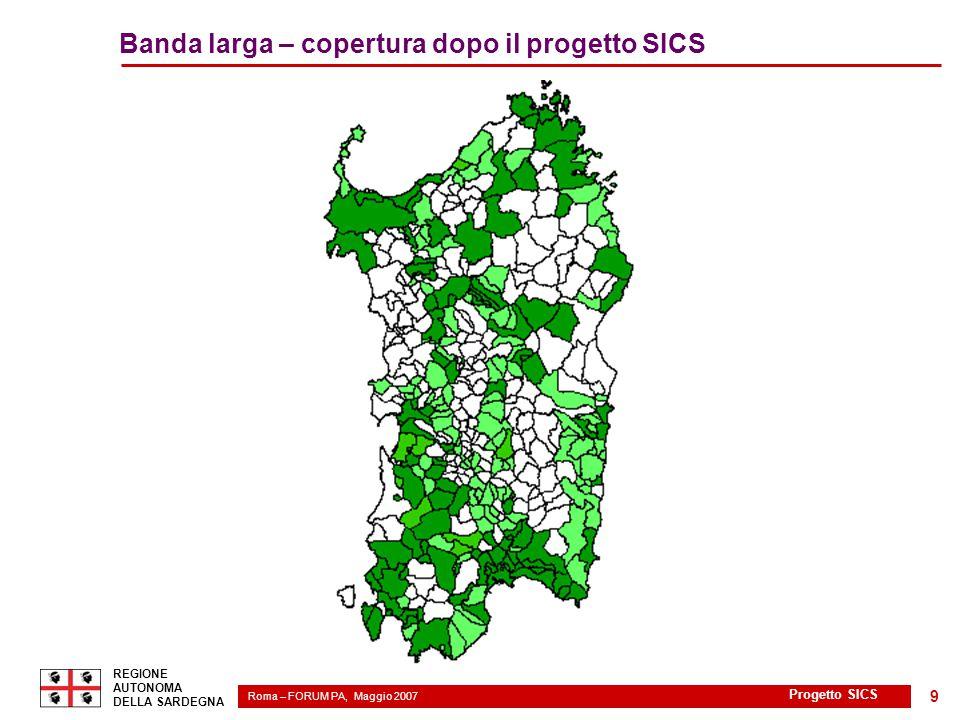 Roma – FORUM PA, Maggio 2007 2 REGIONE AUTONOMA DELLA SARDEGNA Progetto SICS 9 Banda larga – copertura dopo il progetto SICS