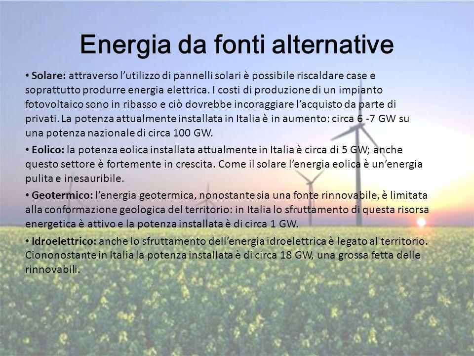 Energia da fonti alternative Solare: attraverso l'utilizzo di pannelli solari è possibile riscaldare case e soprattutto produrre energia elettrica. I