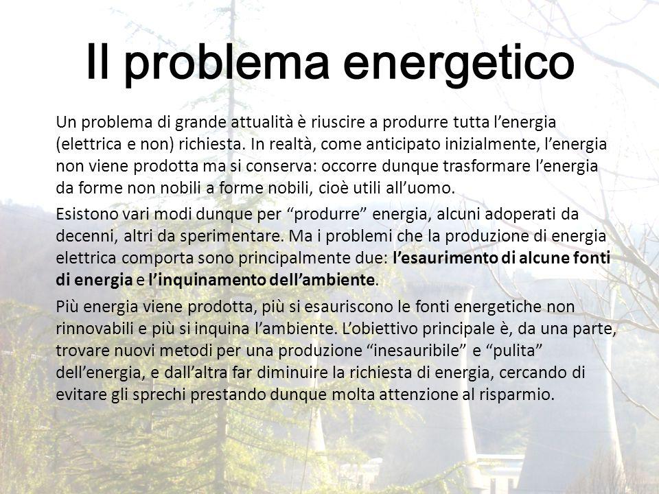 Il problema energetico Un problema di grande attualità è riuscire a produrre tutta l'energia (elettrica e non) richiesta. In realtà, come anticipato i