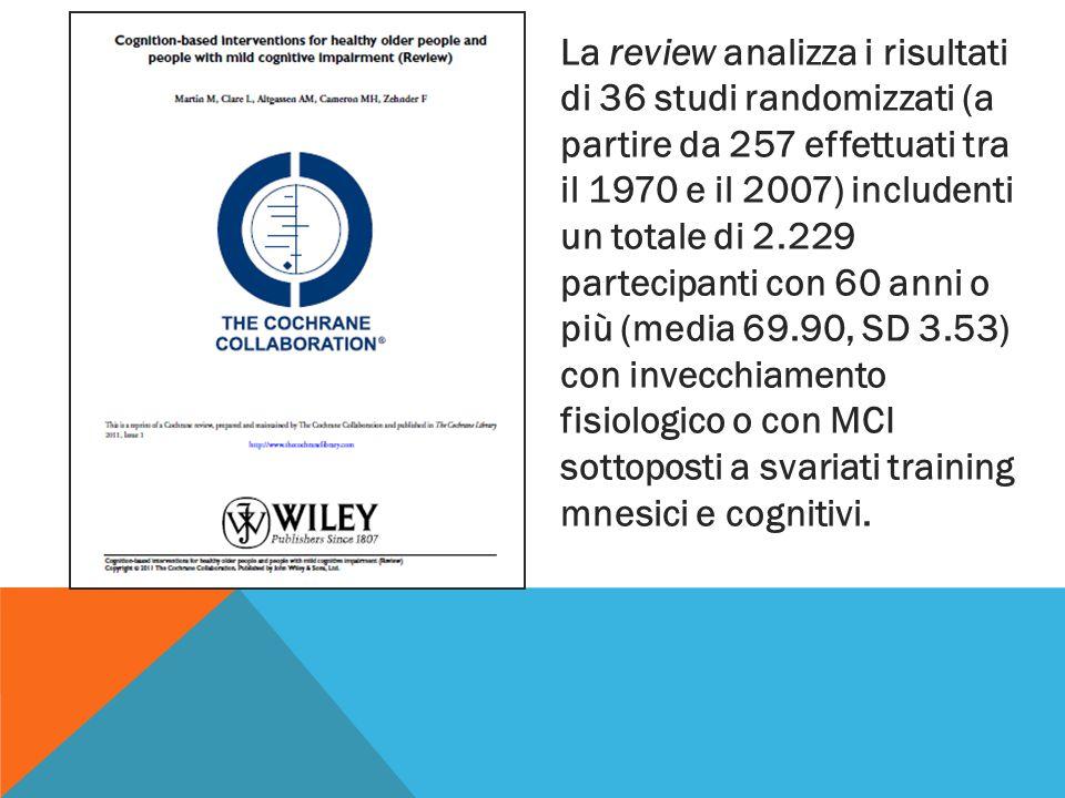 La review analizza i risultati di 36 studi randomizzati (a partire da 257 effettuati tra il 1970 e il 2007) includenti un totale di 2.229 partecipanti con 60 anni o più (media 69.90, SD 3.53) con invecchiamento fisiologico o con MCI sottoposti a svariati training mnesici e cognitivi.