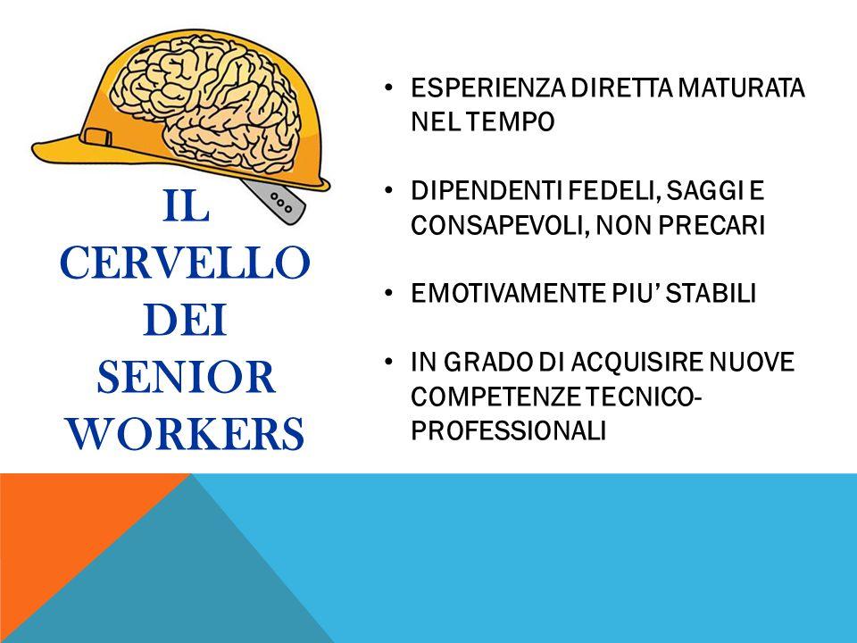 IL CERVELLO DEI SENIOR WORKERS ESPERIENZA DIRETTA MATURATA NEL TEMPO DIPENDENTI FEDELI, SAGGI E CONSAPEVOLI, NON PRECARI EMOTIVAMENTE PIU' STABILI IN GRADO DI ACQUISIRE NUOVE COMPETENZE TECNICO- PROFESSIONALI