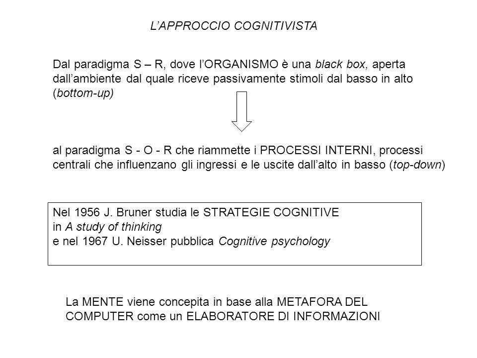 L'APPROCCIO COGNITIVISTA Dal paradigma S – R, dove l'ORGANISMO è una black box, aperta dall'ambiente dal quale riceve passivamente stimoli dal basso in alto (bottom-up) al paradigma S - O - R che riammette i PROCESSI INTERNI, processi centrali che influenzano gli ingressi e le uscite dall'alto in basso (top-down) Nel 1956 J.