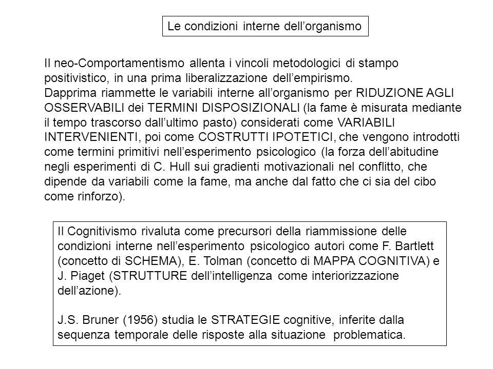 Il Cognitivismo rivaluta come precursori della riammissione delle condizioni interne nell'esperimento psicologico autori come F.
