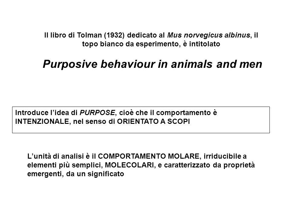 Il libro di Tolman (1932) dedicato al Mus norvegicus albinus, il topo bianco da esperimento, è intitolato Purposive behaviour in animals and men Intro