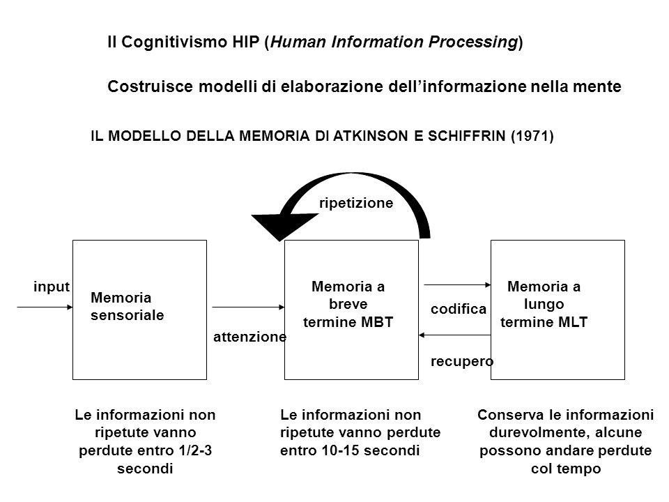 Il Cognitivismo HIP (Human Information Processing) Costruisce modelli di elaborazione dell'informazione nella mente IL MODELLO DELLA MEMORIA DI ATKINSON E SCHIFFRIN (1971) Memoria sensoriale Memoria a breve termine MBT Memoria a lungo termine MLT input attenzione codifica recupero Le informazioni non ripetute vanno perdute entro 1/2-3 secondi Le informazioni non ripetute vanno perdute entro 10-15 secondi Conserva le informazioni durevolmente, alcune possono andare perdute col tempo ripetizione
