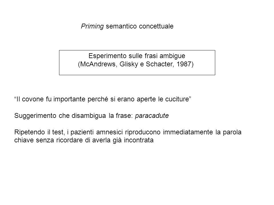 Esperimento sulle frasi ambigue (McAndrews, Glisky e Schacter, 1987) Priming semantico concettuale Il covone fu importante perché si erano aperte le cuciture Suggerimento che disambigua la frase: paracadute Ripetendo il test, i pazienti amnesici riproducono immediatamente la parola chiave senza ricordare di averla già incontrata
