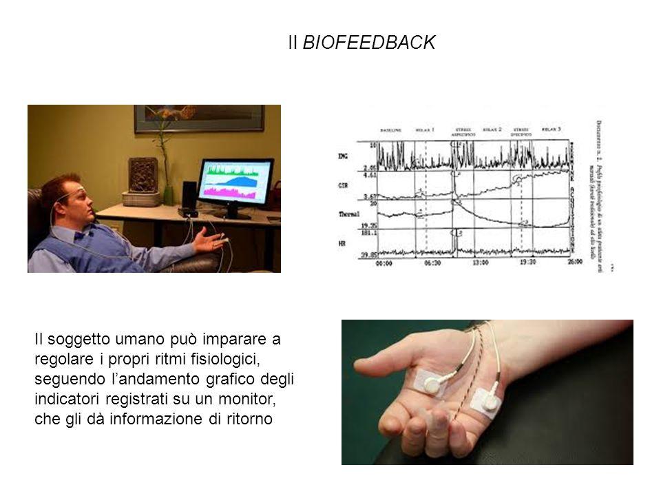 Il BIOFEEDBACK Il soggetto umano può imparare a regolare i propri ritmi fisiologici, seguendo l'andamento grafico degli indicatori registrati su un monitor, che gli dà informazione di ritorno
