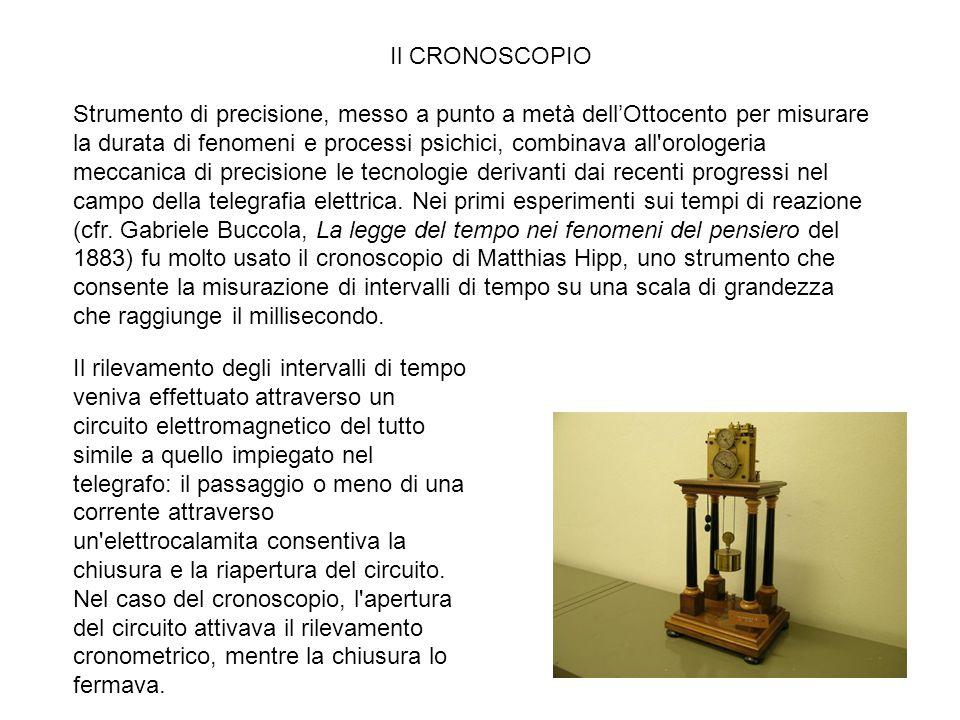 Strumento di precisione, messo a punto a metà dell'Ottocento per misurare la durata di fenomeni e processi psichici, combinava all'orologeria meccanic