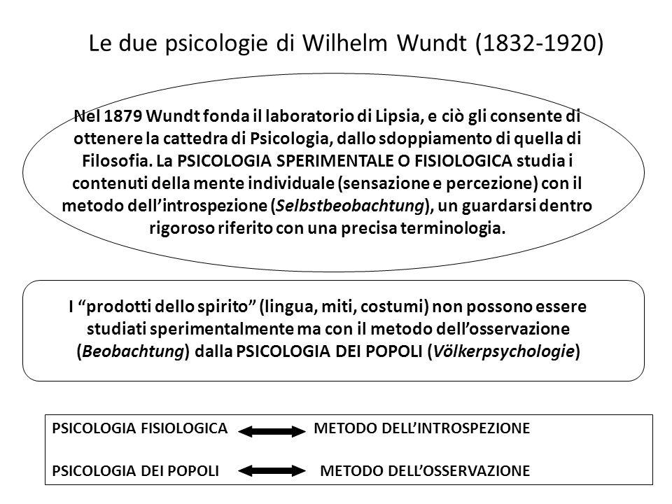 Le due psicologie di Wilhelm Wundt (1832-1920) Nel 1879 Wundt fonda il laboratorio di Lipsia, e ciò gli consente di ottenere la cattedra di Psicologia