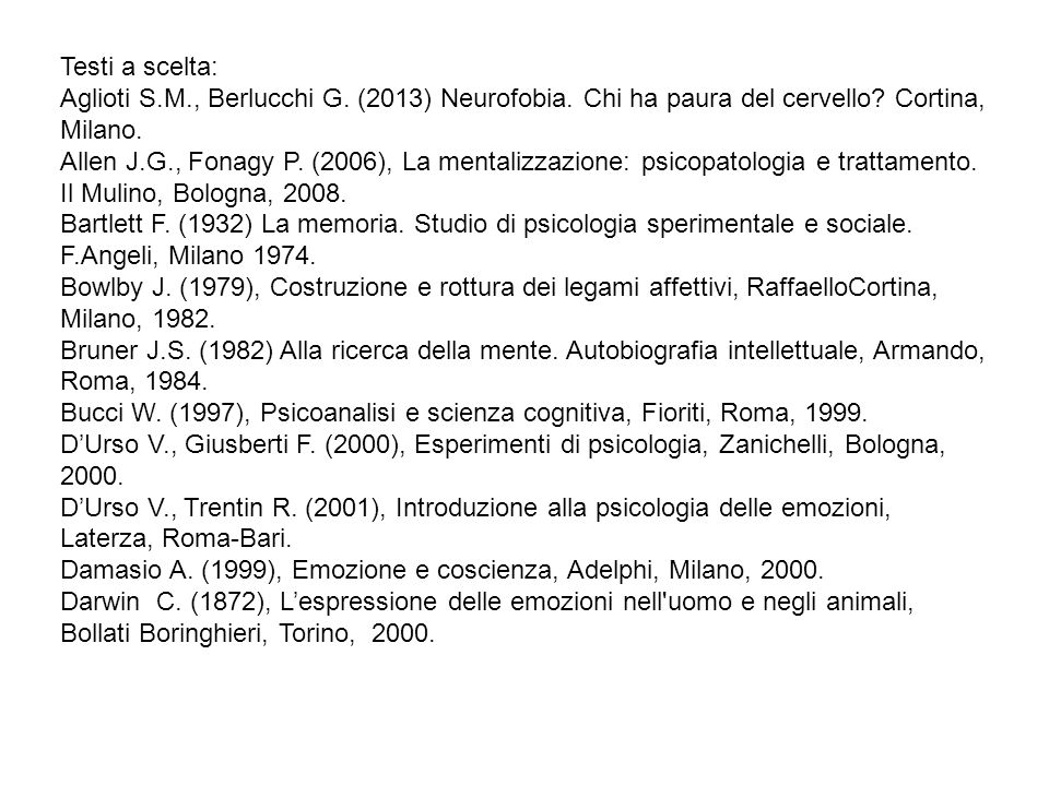 Testi a scelta: Aglioti S.M., Berlucchi G. (2013) Neurofobia. Chi ha paura del cervello? Cortina, Milano. Allen J.G., Fonagy P. (2006), La mentalizzaz