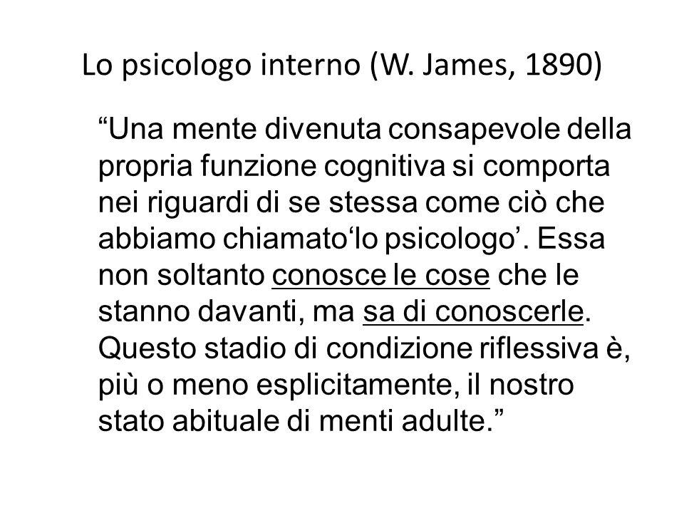 """Lo psicologo interno (W. James, 1890) """"Una mente divenuta consapevole della propria funzione cognitiva si comporta nei riguardi di se stessa come ciò"""
