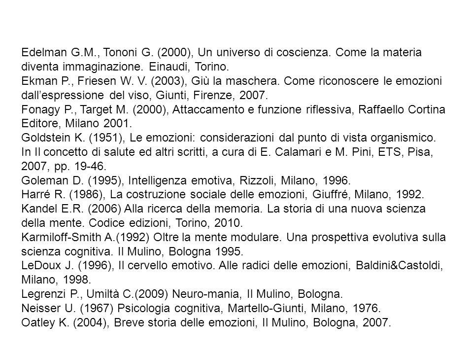 Edelman G.M., Tononi G. (2000), Un universo di coscienza. Come la materia diventa immaginazione. Einaudi, Torino. Ekman P., Friesen W. V. (2003), Giù