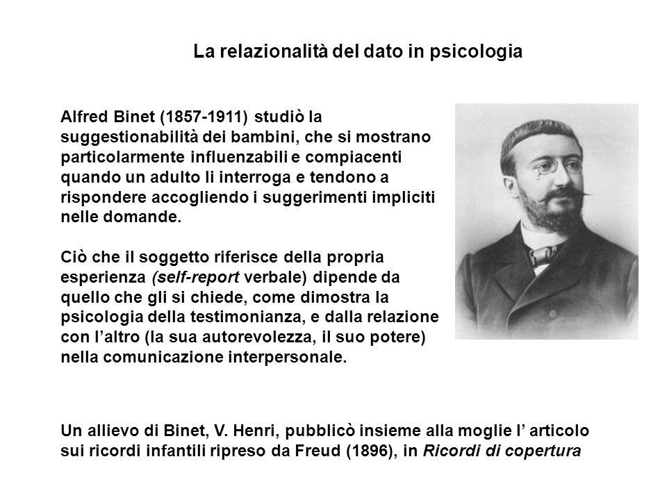 Un allievo di Binet, V. Henri, pubblicò insieme alla moglie l' articolo sui ricordi infantili ripreso da Freud (1896), in Ricordi di copertura Alfred