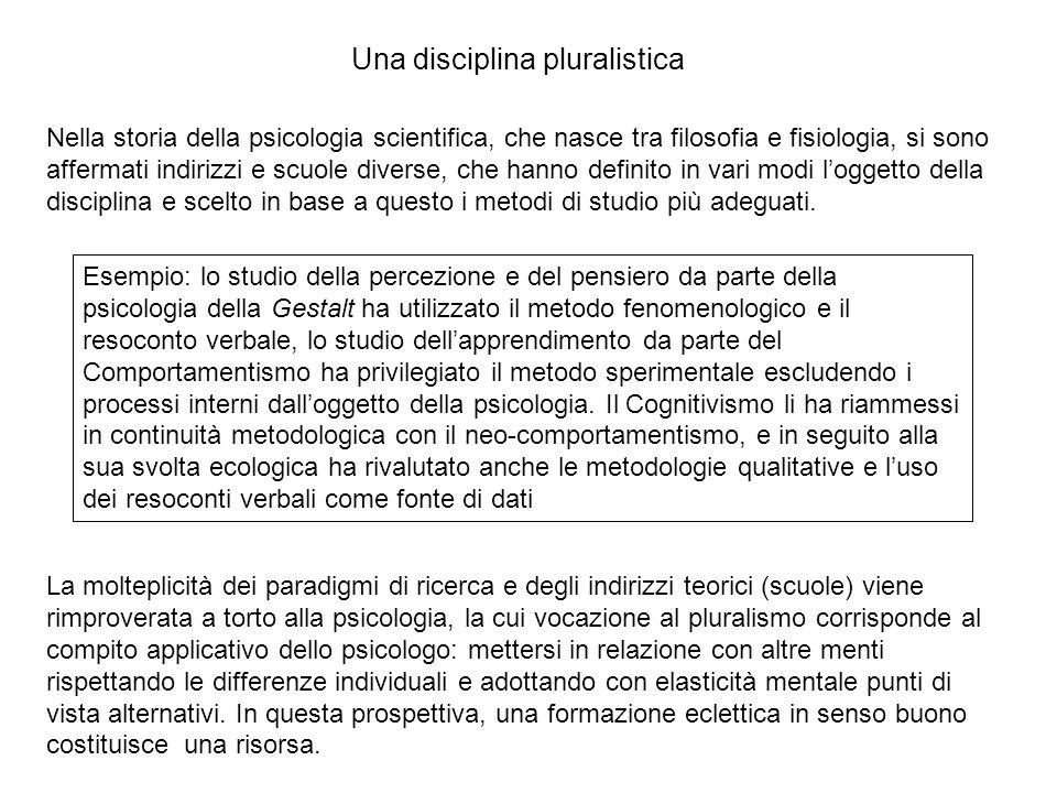 Nella storia della psicologia scientifica, che nasce tra filosofia e fisiologia, si sono affermati indirizzi e scuole diverse, che hanno definito in vari modi l'oggetto della disciplina e scelto in base a questo i metodi di studio più adeguati.