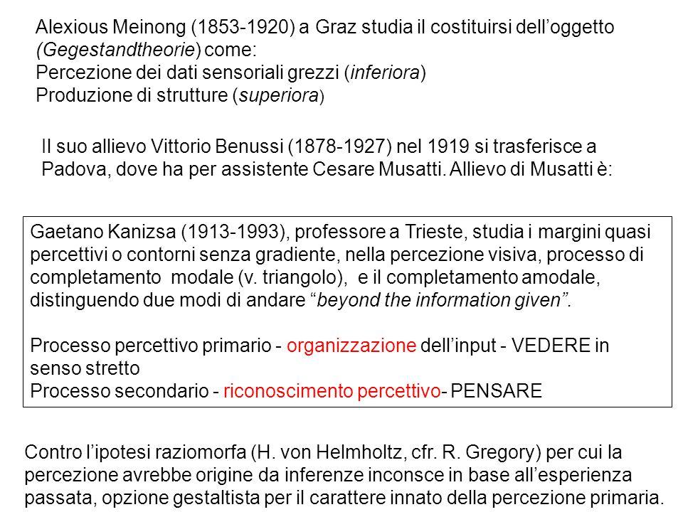 Alexious Meinong (1853-1920) a Graz studia il costituirsi dell'oggetto (Gegestandtheorie) come: Percezione dei dati sensoriali grezzi (inferiora) Prod