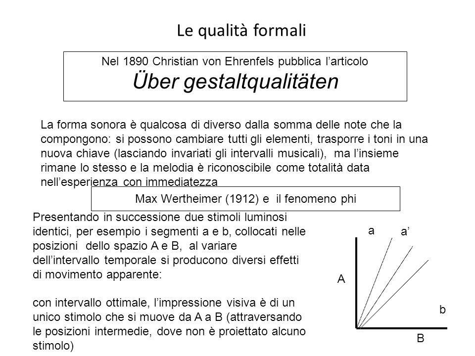 Le qualità formali Nel 1890 Christian von Ehrenfels pubblica l'articolo Über gestaltqualitäten La forma sonora è qualcosa di diverso dalla somma delle