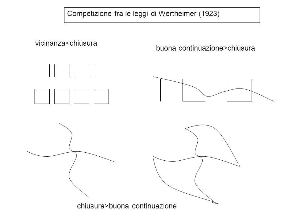 Competizione fra le leggi di Wertheimer (1923) vicinanza<chiusura buona continuazione>chiusura chiusura>buona continuazione