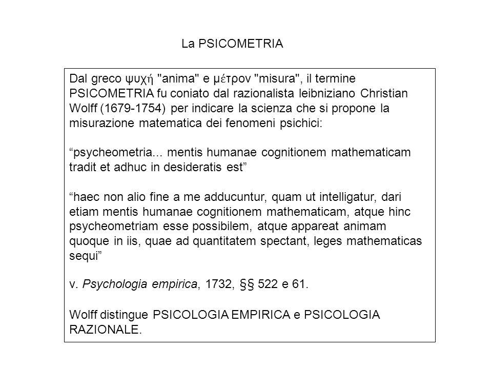 Dal greco ψυχ ή anima e μ έ τρον misura , il termine PSICOMETRIA fu coniato dal razionalista leibniziano Christian Wolff (1679-1754) per indicare la scienza che si propone la misurazione matematica dei fenomeni psichici: psycheometria...