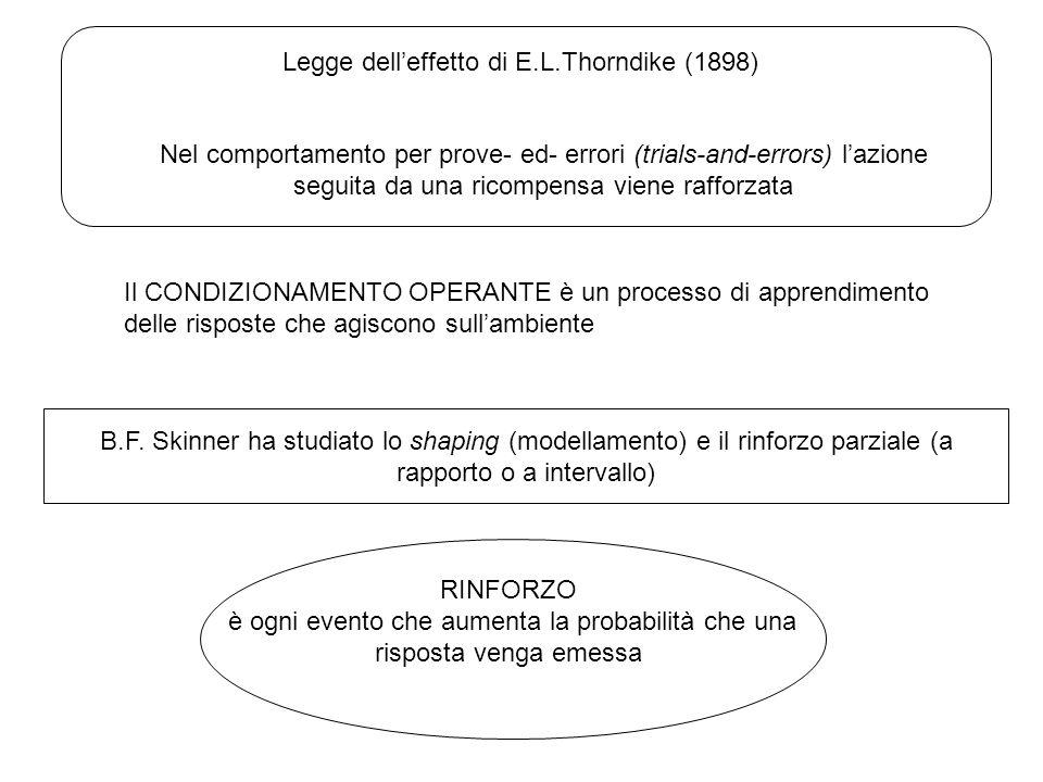 Legge dell'effetto di E.L.Thorndike (1898) Nel comportamento per prove- ed- errori (trials-and-errors) l'azione seguita da una ricompensa viene rafforzata Il CONDIZIONAMENTO OPERANTE è un processo di apprendimento delle risposte che agiscono sull'ambiente B.F.