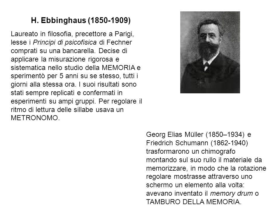 H. Ebbinghaus (1850-1909) Laureato in filosofia, precettore a Parigi, lesse i Principi di psicofisica di Fechner comprati su una bancarella. Decise di