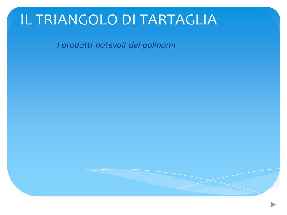 IL TRIANGOLO DI TARTAGLIA I prodotti notevoli dei polinomi