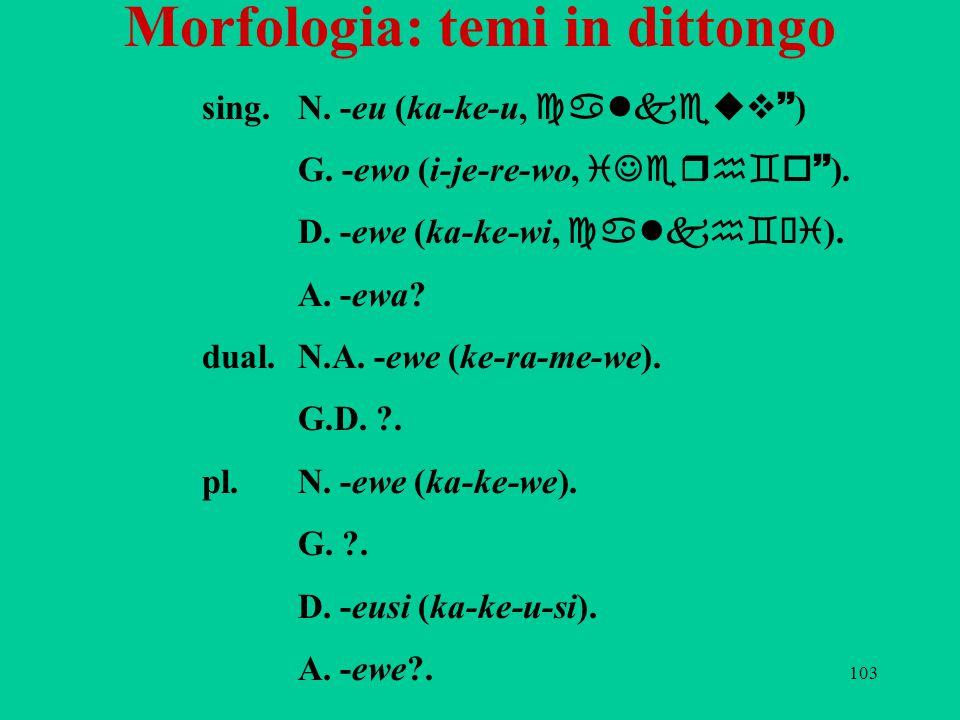103 Morfologia: temi in dittongo sing.N. -eu (ka-ke-u, calkeuv~ ) G. -ewo (i-je-re-wo, iJerh`o~ ). D. -ewe (ka-ke-wi, calkh`üi ). A. -ewa? dual.N.A. -