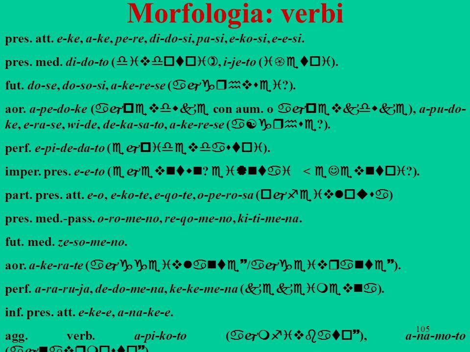 105 Morfologia: verbi pres. att. e-ke, a-ke, pe-re, di-do-si, pa-si, e-ko-si, e-e-si. pres. med. di-do-to ( divdotoi), i-je-to ( i{etoi ). fut. do-se,
