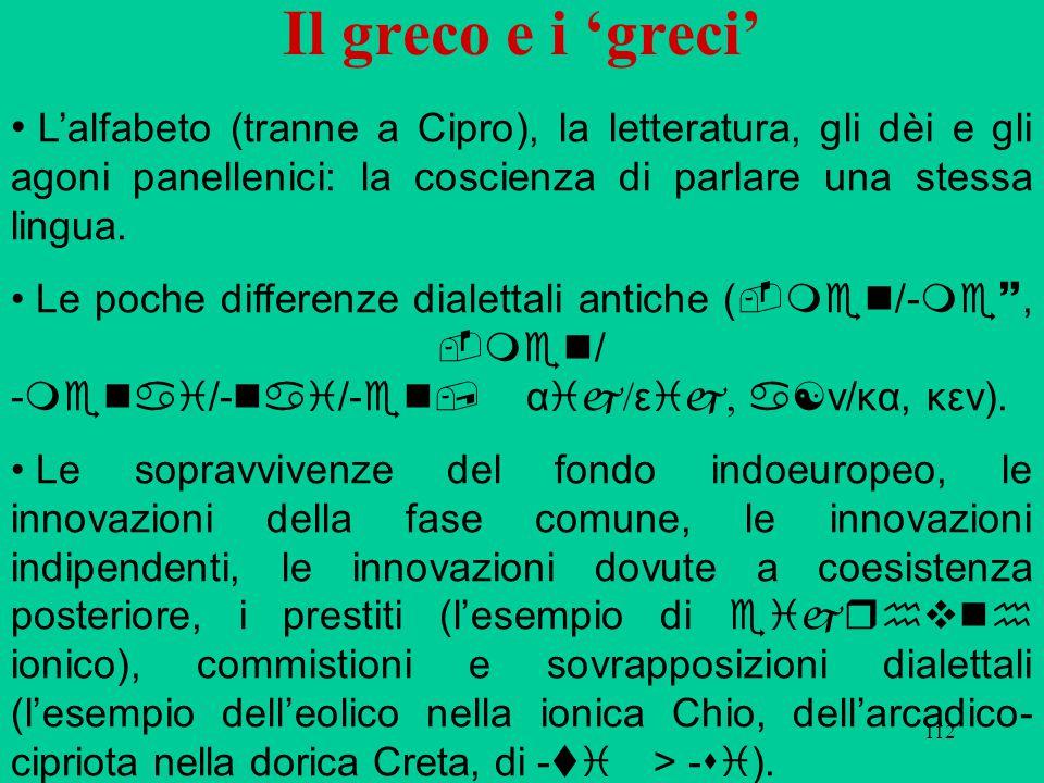 112 Il greco e i 'greci' L'alfabeto (tranne a Cipro), la letteratura, gli dèi e gli agoni panellenici: la coscienza di parlare una stessa lingua. Le p
