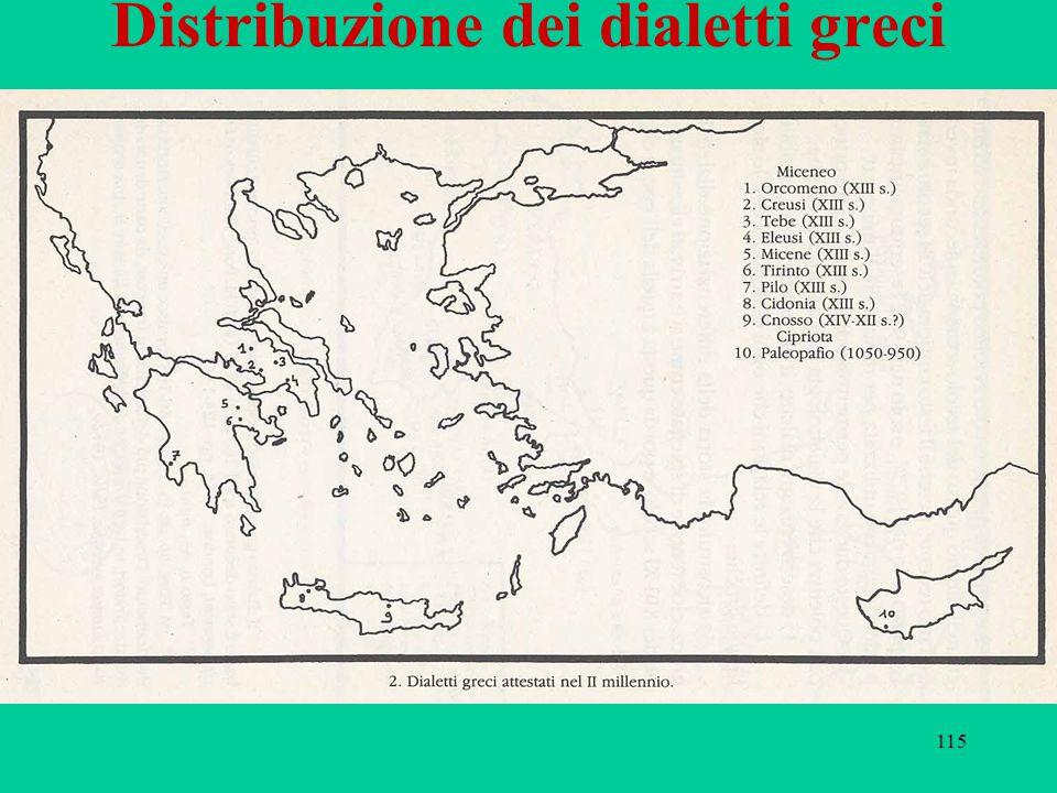 115 Distribuzione dei dialetti greci