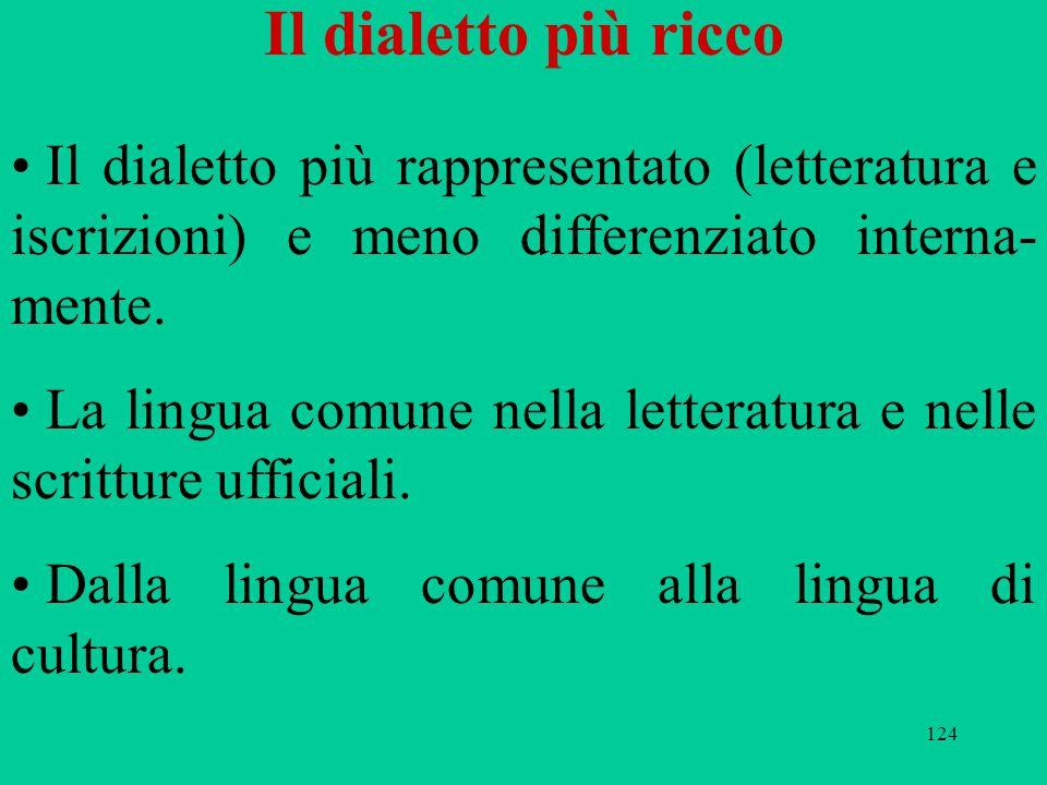 124 Il dialetto più ricco Il dialetto più rappresentato (letteratura e iscrizioni) e meno differenziato interna- mente. La lingua comune nella lettera