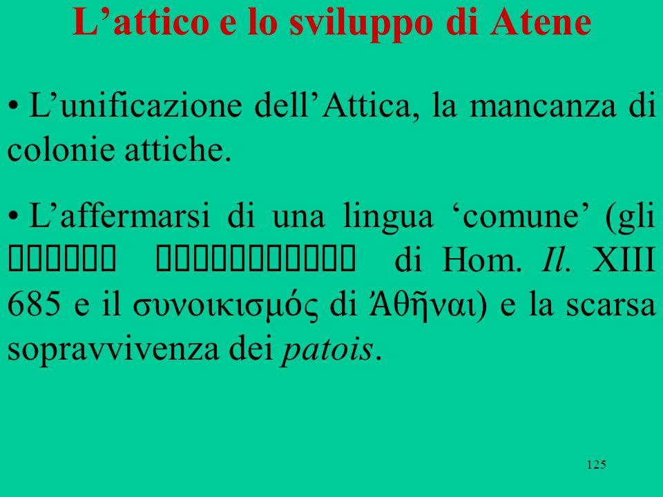 125 L'attico e lo sviluppo di Atene L'unificazione dell'Attica, la mancanza di colonie attiche. L'affermarsi di una lingua 'comune' (gli Ἰά ονες ἑ λκε