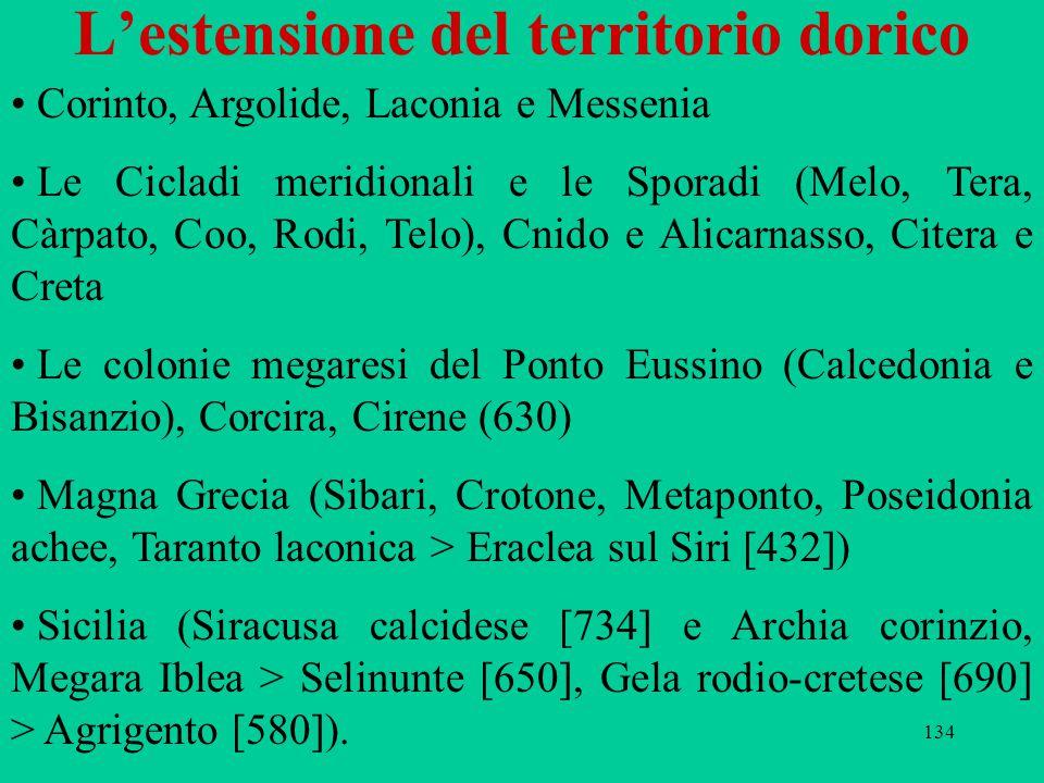 134 L'estensione del territorio dorico Corinto, Argolide, Laconia e Messenia Le Cicladi meridionali e le Sporadi (Melo, Tera, Càrpato, Coo, Rodi, Telo