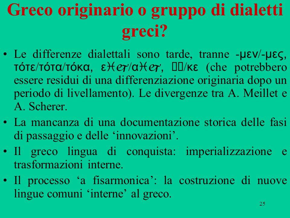 25 Greco originario o gruppo di dialetti greci.
