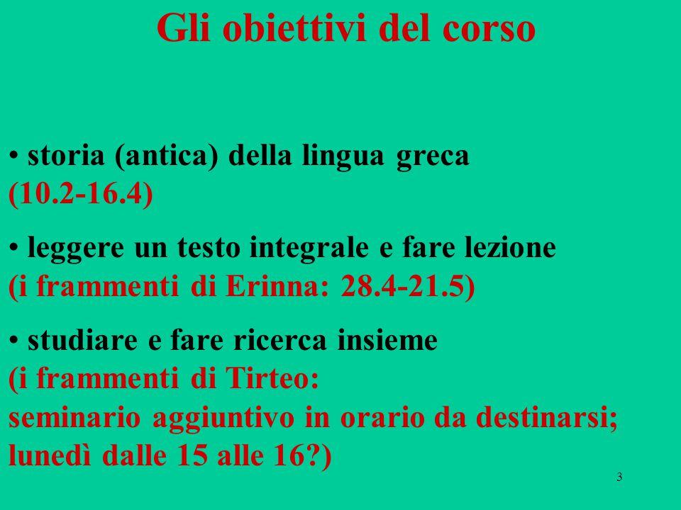 3 Gli obiettivi del corso storia (antica) della lingua greca (10.2-16.4) leggere un testo integrale e fare lezione (i frammenti di Erinna: 28.4-21.5)