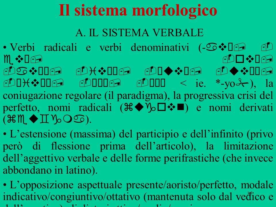 35 Il sistema morfologico A.