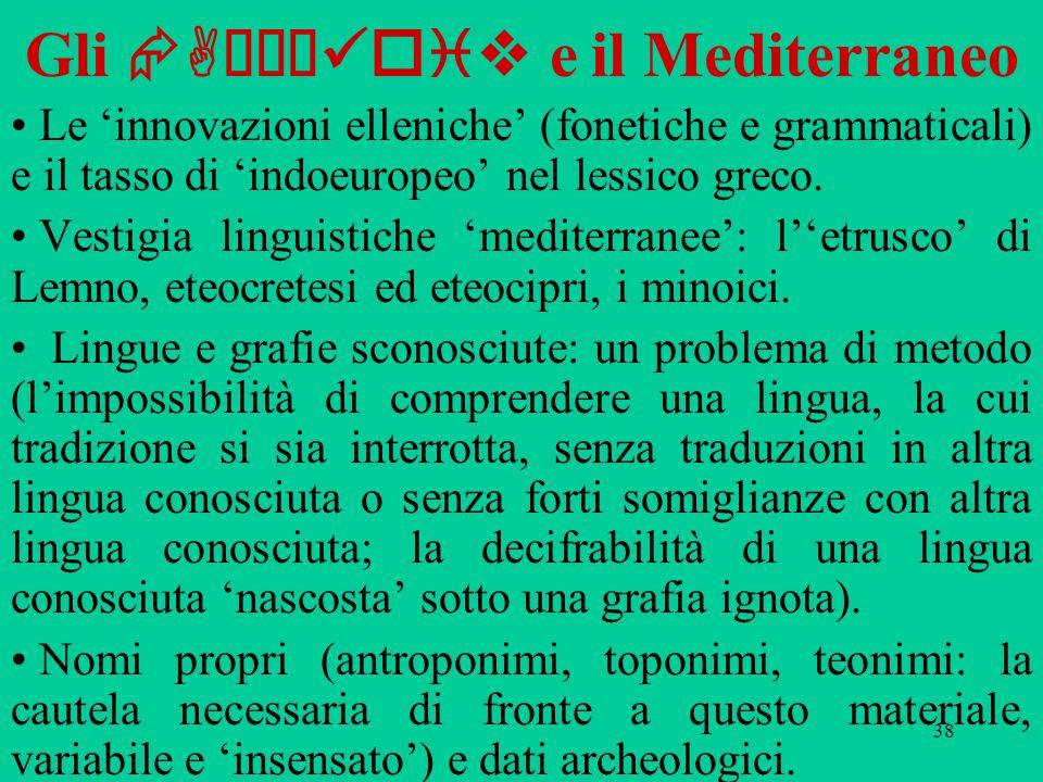 38 Gli  Aχαι oiv e il Mediterraneo Le 'innovazioni elleniche' (fonetiche e grammaticali) e il tasso di 'indoeuropeo' nel lessico greco. Vestigia ling