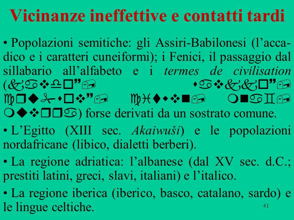 41 Vicinanze ineffettive e contatti tardi Popolazioni semitiche: gli Assiri-Babilonesi (l'acca- dico e i caratteri cuneiformi); i Fenici, il passaggio