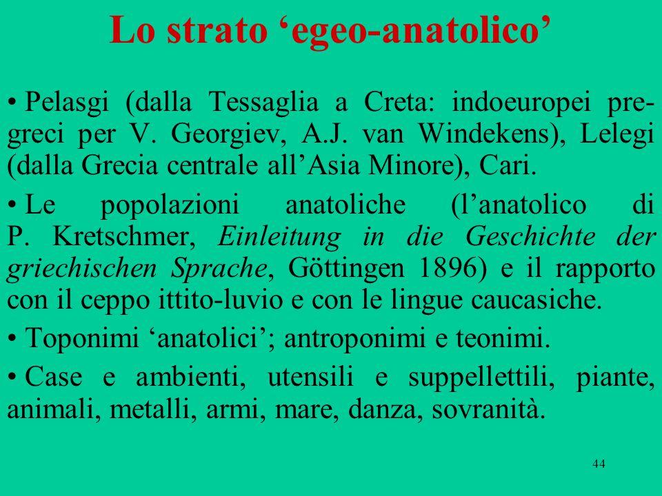 44 Lo strato 'egeo-anatolico' Pelasgi (dalla Tessaglia a Creta: indoeuropei pre- greci per V. Georgiev, A.J. van Windekens), Lelegi (dalla Grecia cent