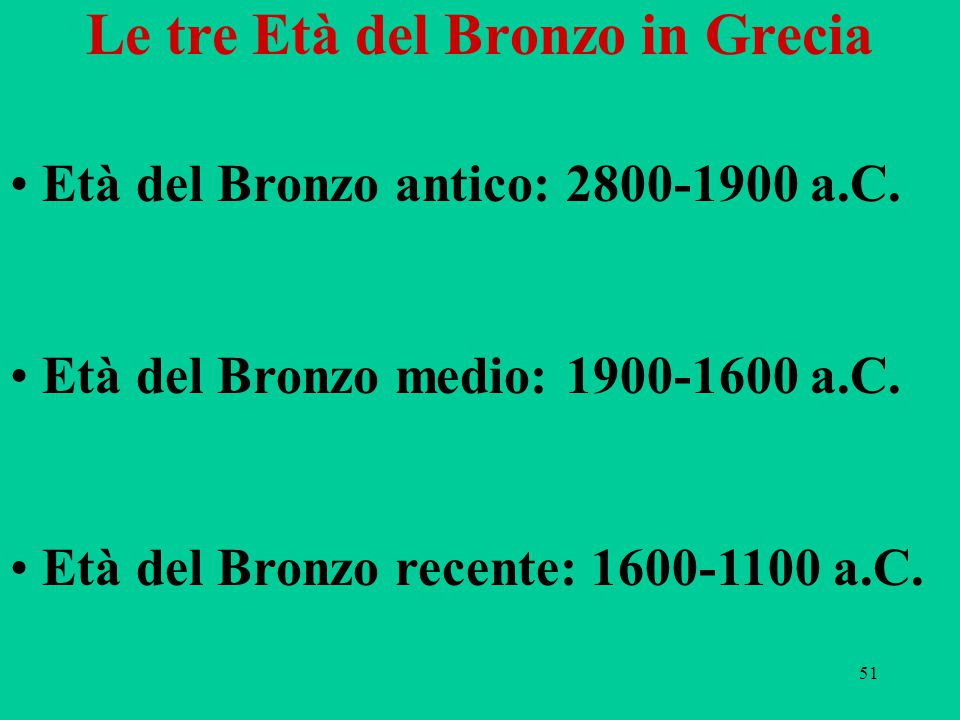 51 Le tre Età del Bronzo in Grecia Età del Bronzo antico: 2800-1900 a.C. Età del Bronzo medio: 1900-1600 a.C. Età del Bronzo recente: 1600-1100 a.C.