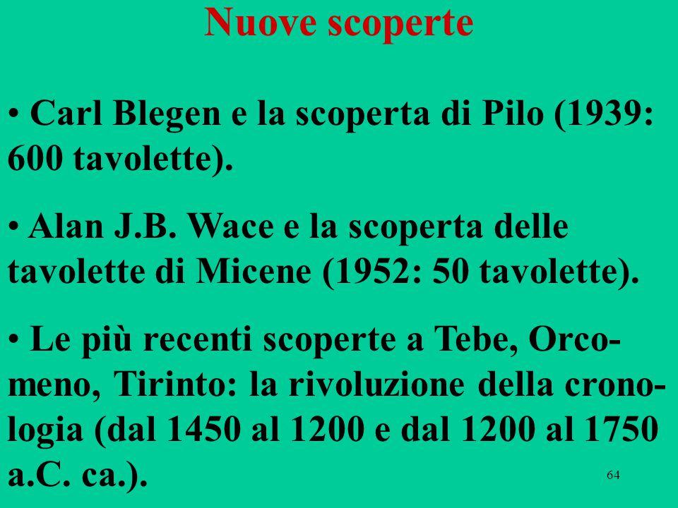 64 Nuove scoperte Carl Blegen e la scoperta di Pilo (1939: 600 tavolette). Alan J.B. Wace e la scoperta delle tavolette di Micene (1952: 50 tavolette)