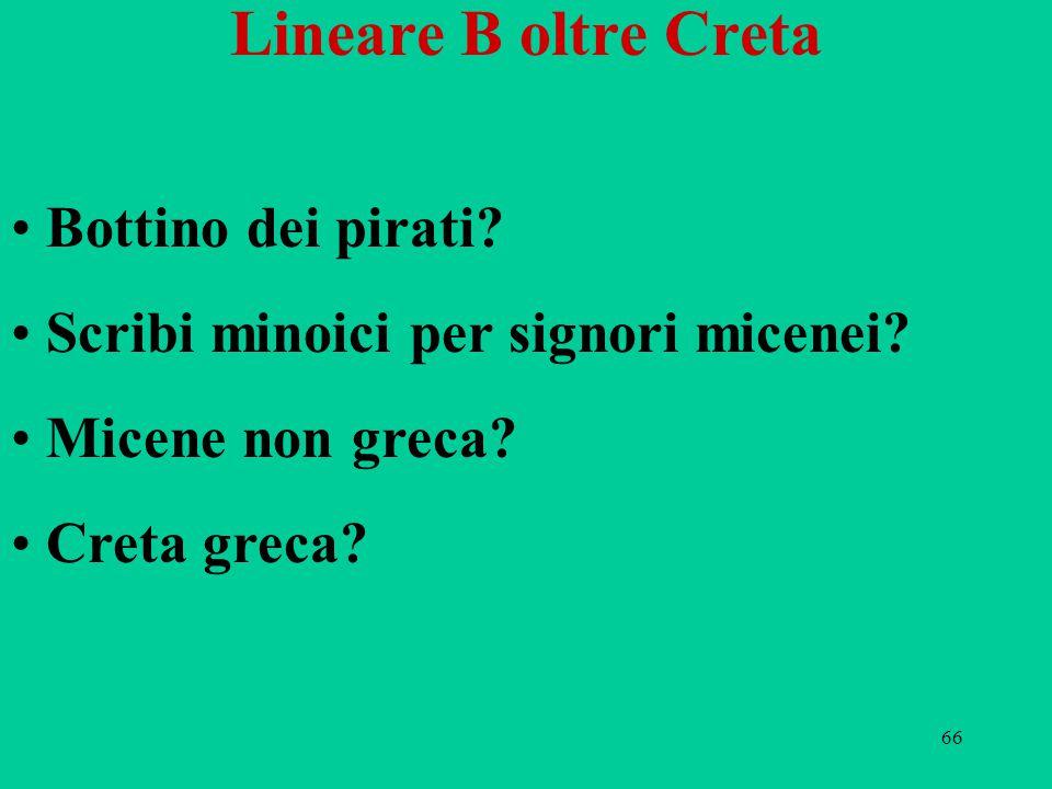 66 Lineare B oltre Creta Bottino dei pirati? Scribi minoici per signori micenei? Micene non greca? Creta greca?