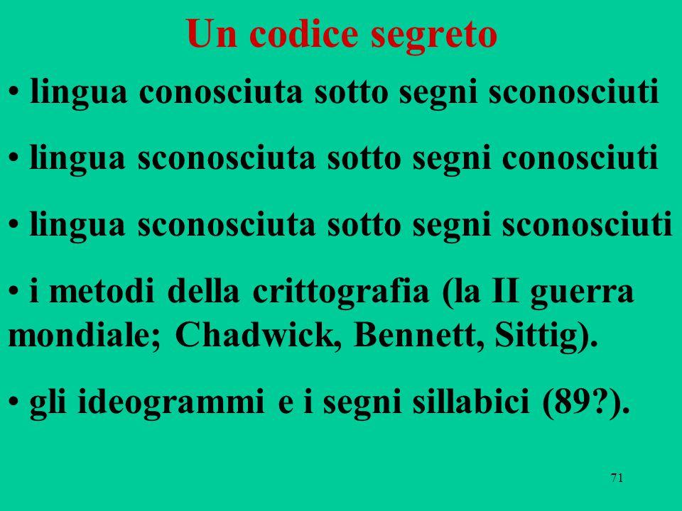71 Un codice segreto l ingua conosciuta sotto segni sconosciuti lingua sconosciuta sotto segni conosciuti lingua sconosciuta sotto segni sconosciuti i metodi della crittografia (la II guerra mondiale; Chadwick, Bennett, Sittig).
