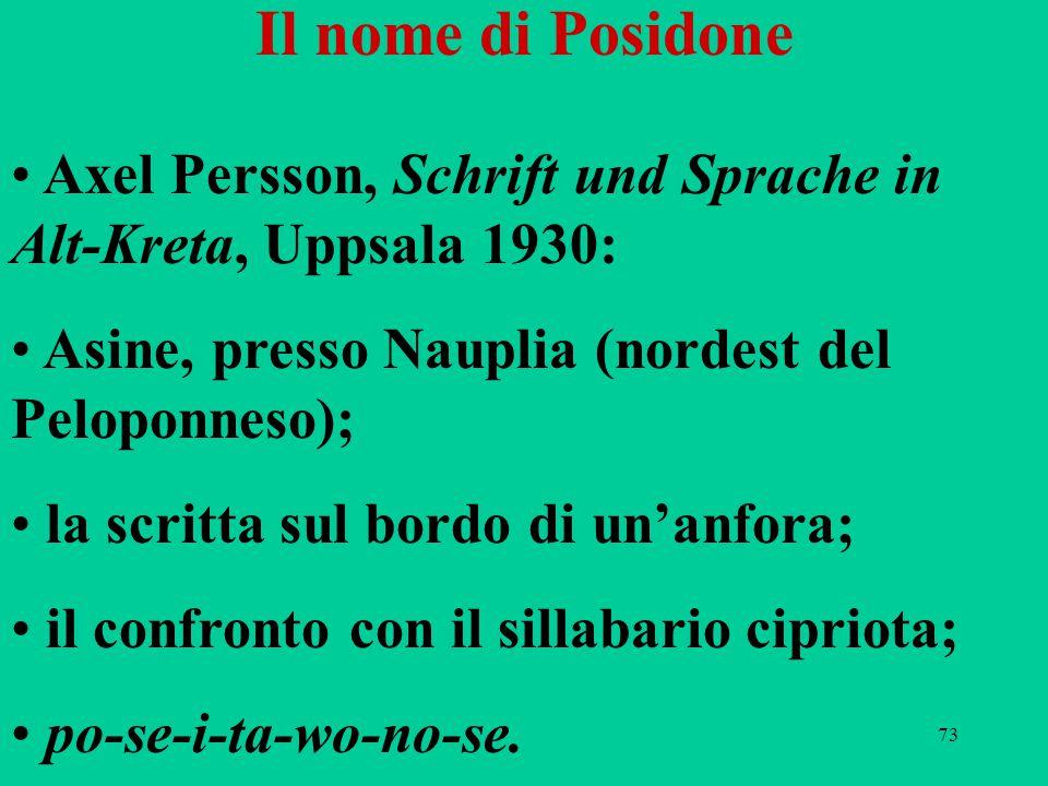 73 Il nome di Posidone Axel Persson, Schrift und Sprache in Alt-Kreta, Uppsala 1930: Asine, presso Nauplia (nordest del Peloponneso); la scritta sul b