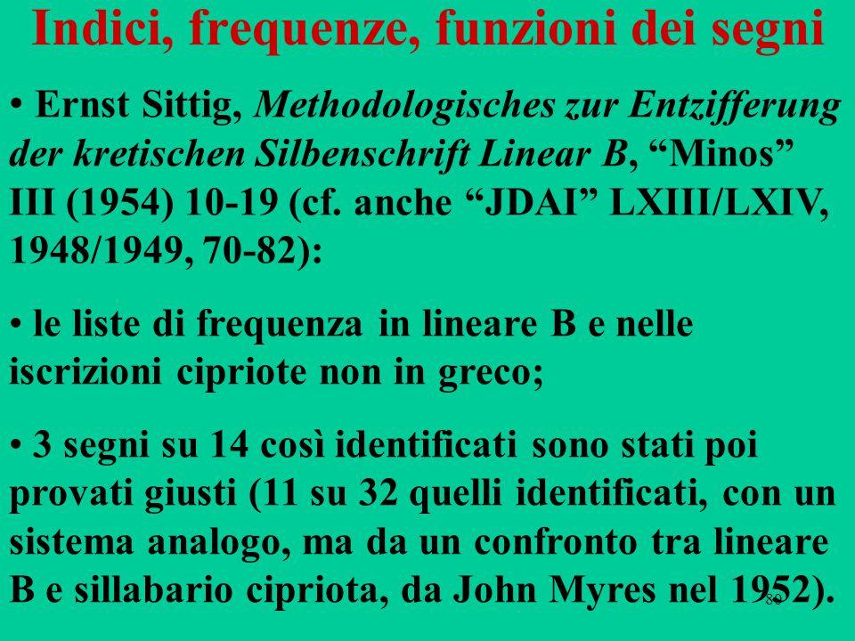 """80 Indici, frequenze, funzioni dei segni Ernst Sittig, Methodologisches zur Entzifferung der kretischen Silbenschrift Linear B, """"Minos"""" III (1954) 10-"""