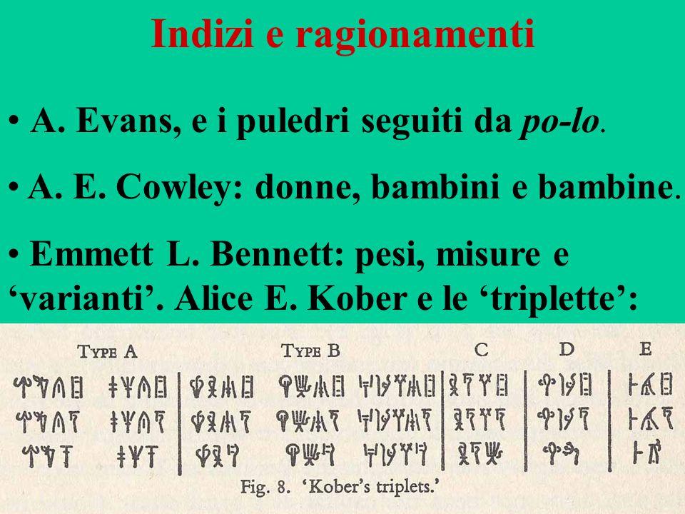 82 Indizi e ragionamenti A. Evans, e i puledri seguiti da po-lo. A. E. Cowley: donne, bambini e bambine. Emmett L. Bennett: pesi, misure e 'varianti'.