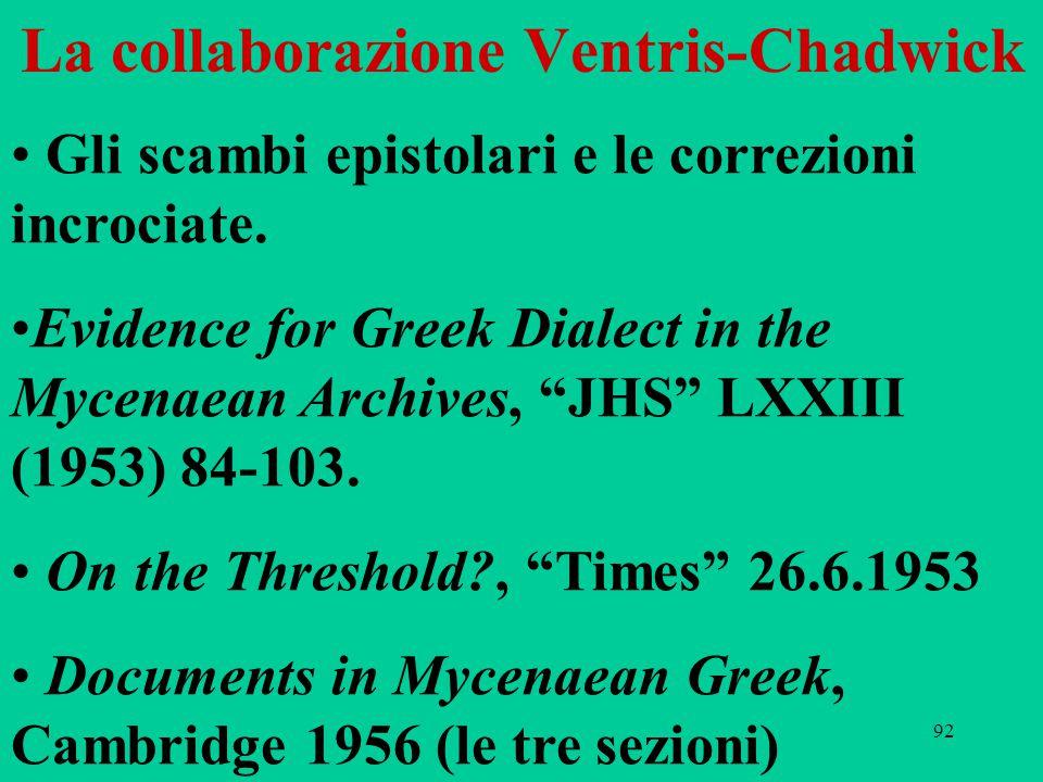 """92 La collaborazione Ventris-Chadwick Gli scambi epistolari e le correzioni incrociate. Evidence for Greek Dialect in the Mycenaean Archives, """"JHS"""" LX"""